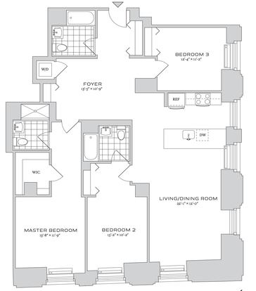 3 Bedrooms 2 Bathrooms Apartment for rent at 70 Pine Street in New York, NY