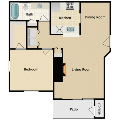 1 Bedroom 1 Bathroom Apartment for rent at Garden Pointe in Seattle, WA