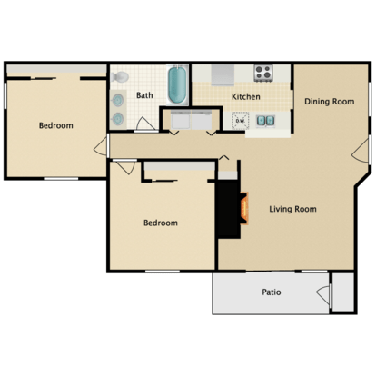 2 Bedrooms 1 Bathroom Apartment for rent at Garden Pointe in Seattle, WA