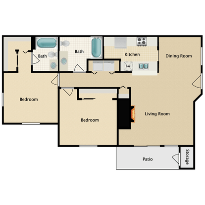 2 Bedrooms 2 Bathrooms Apartment for rent at Garden Pointe in Seattle, WA