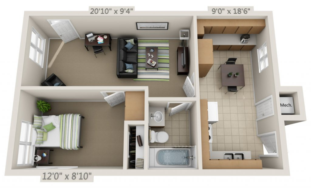 1 Bedroom 1 Bathroom Apartment for rent at College Park in Gainesville, FL