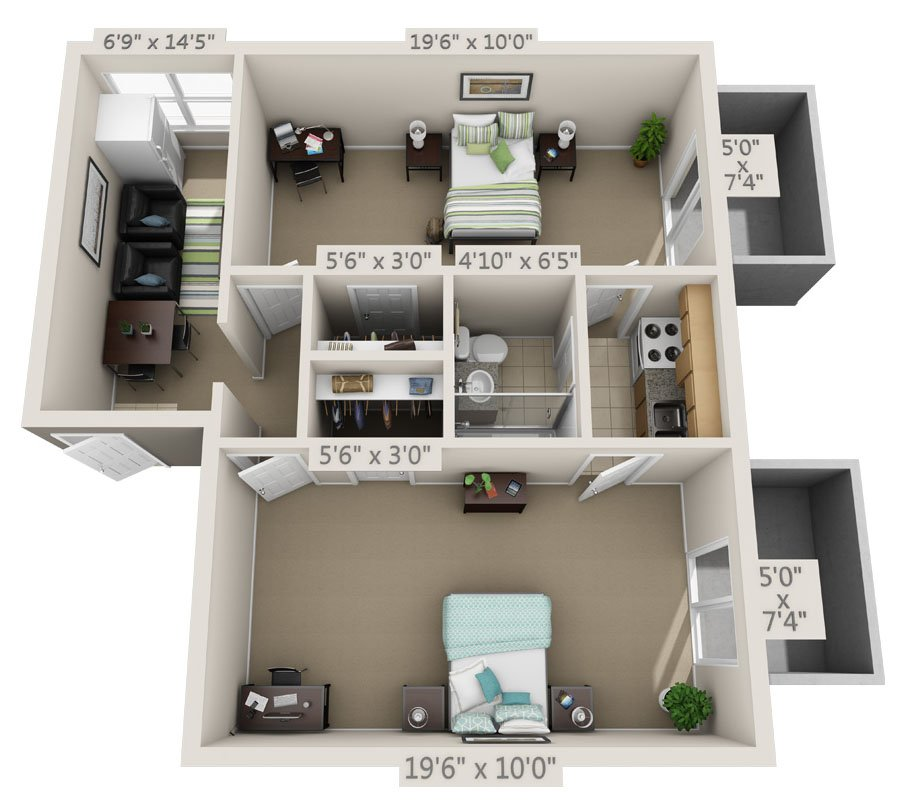 2 Bedrooms 1 Bathroom Apartment for rent at College Park in Gainesville, FL