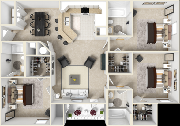 3 Bedrooms 3 Bathrooms Apartment for rent at The Crossing At Santa Fe in Gainesville, FL