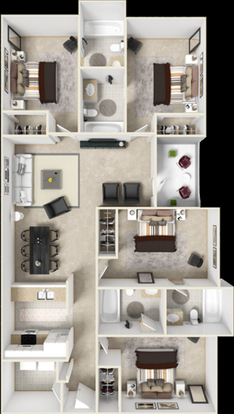4 Bedrooms 4+ Bathrooms Apartment for rent at The Crossing At Santa Fe in Gainesville, FL