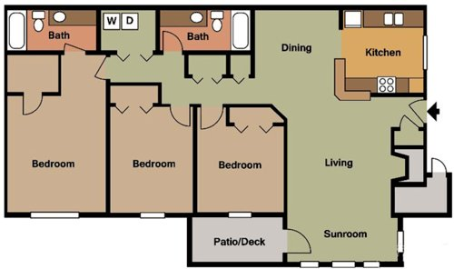 3 Bedrooms 2 Bathrooms Apartment for rent at Colony Woods in Birmingham, AL