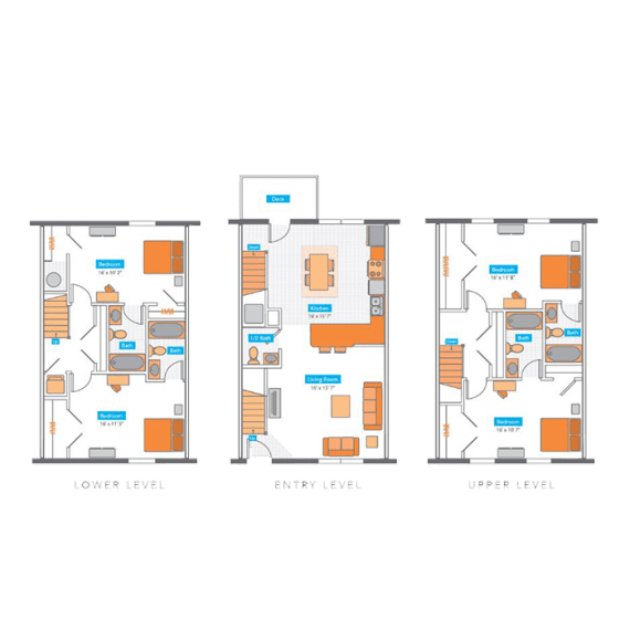 4 Bedrooms 4+ Bathrooms Apartment for rent at Copper Beech Townhomes in Columbia, MO