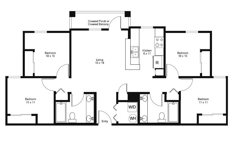 4 Bedrooms 2 Bathrooms Apartment for rent at Connection in Austin, TX