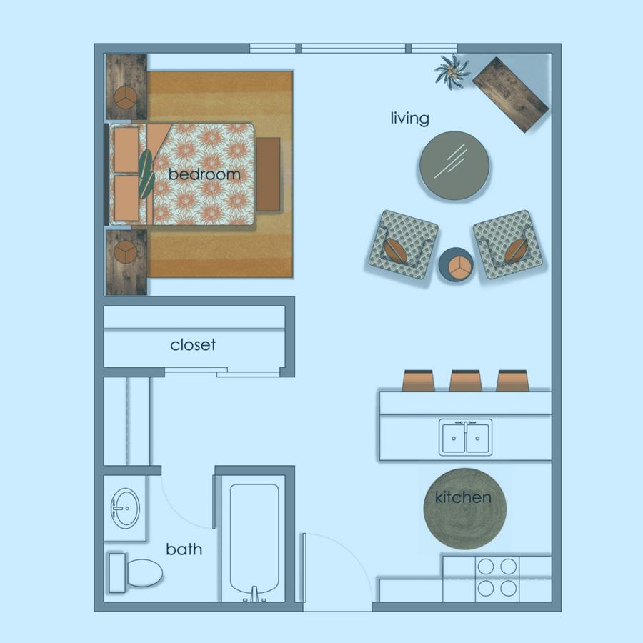 Studio 1 Bathroom Apartment for rent at Volume Apartments in Austin, TX