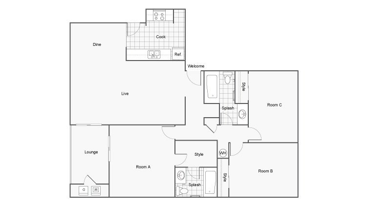3 Bedrooms 2 Bathrooms Apartment for rent at The Hub At Tallahassee in Tallahassee, FL
