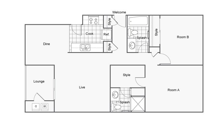 2 Bedrooms 2 Bathrooms Apartment for rent at The Hub At Tallahassee in Tallahassee, FL