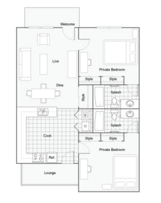 2 Bedrooms 2 Bathrooms Apartment for rent at Dwell Tallahassee in Tallahassee, FL