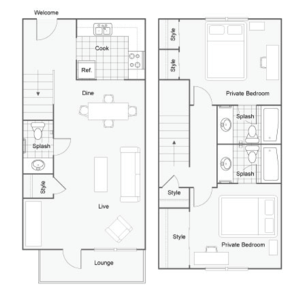 2 Bedrooms 3 Bathrooms Apartment for rent at Dwell Tallahassee in Tallahassee, FL