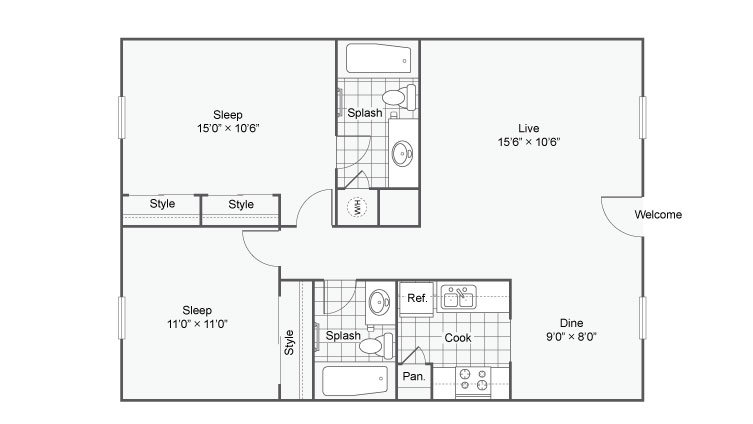2 Bedrooms 1 Bathroom Apartment for rent at The Hub At Baton Rouge in Baton Rouge, LA