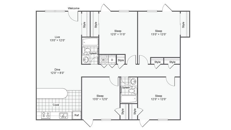 4 Bedrooms 2 Bathrooms Apartment for rent at The Hub At Baton Rouge in Baton Rouge, LA