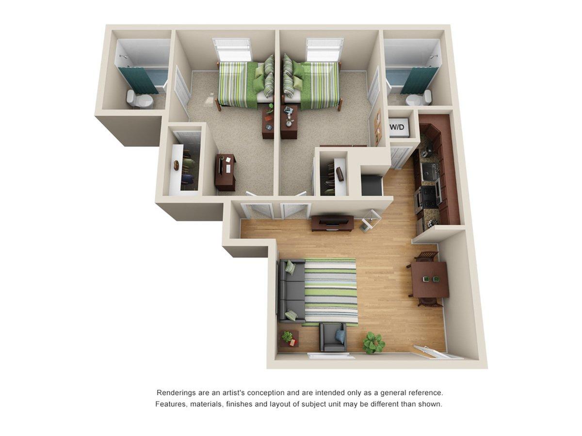 2 Bedrooms 2 Bathrooms Apartment for rent at U Lake Apartments in Tampa, FL