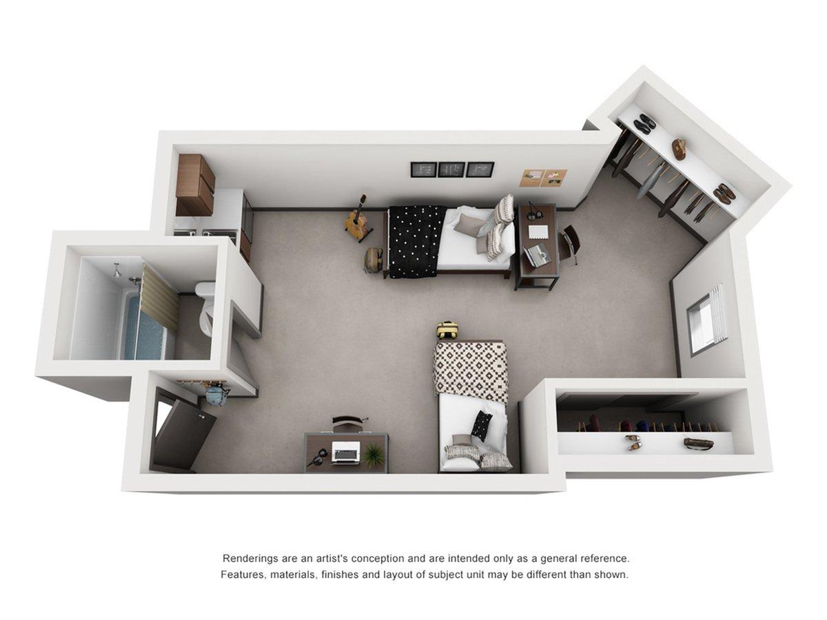 Studio 1 Bathroom Apartment for rent at Dobie Twenty21 in Austin, TX