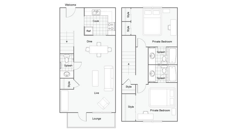 2 Bedrooms 2 Bathrooms Apartment for rent at The Social 2700 in Tallahassee, FL