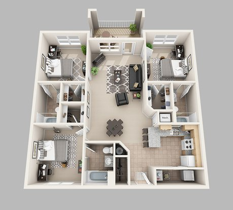 3 Bedrooms 3 Bathrooms Apartment for rent at Lux13 Apartments in Gainesville, FL