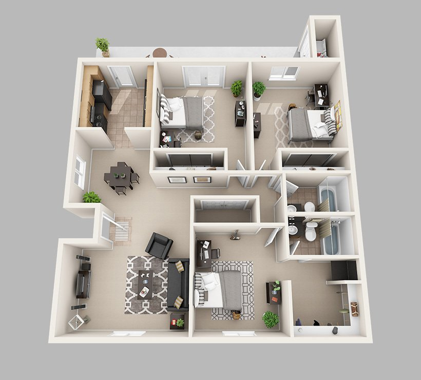 3 Bedrooms 2 Bathrooms Apartment for rent at Lux13 Apartments in Gainesville, FL