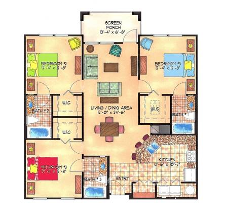 3 Bedrooms 3 Bathrooms Apartment for rent at The Enclave Apartments in Gainesville, FL