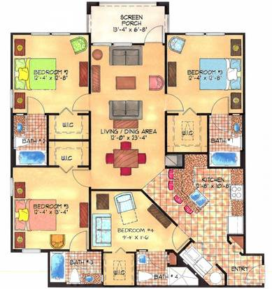 4 Bedrooms 3 Bathrooms Apartment for rent at The Enclave Apartments in Gainesville, FL