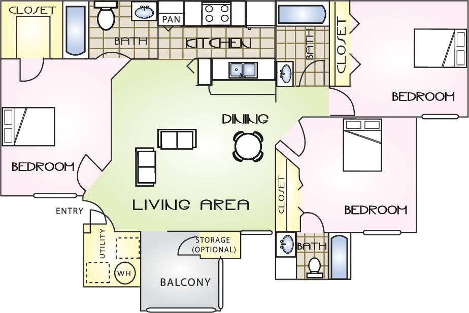 3 Bedrooms 3 Bathrooms Apartment for rent at The Polos in Gainesville, FL