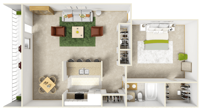 1 Bedroom 1 Bathroom Apartment for rent at Bivens Cove Apartments in Gainesville, FL
