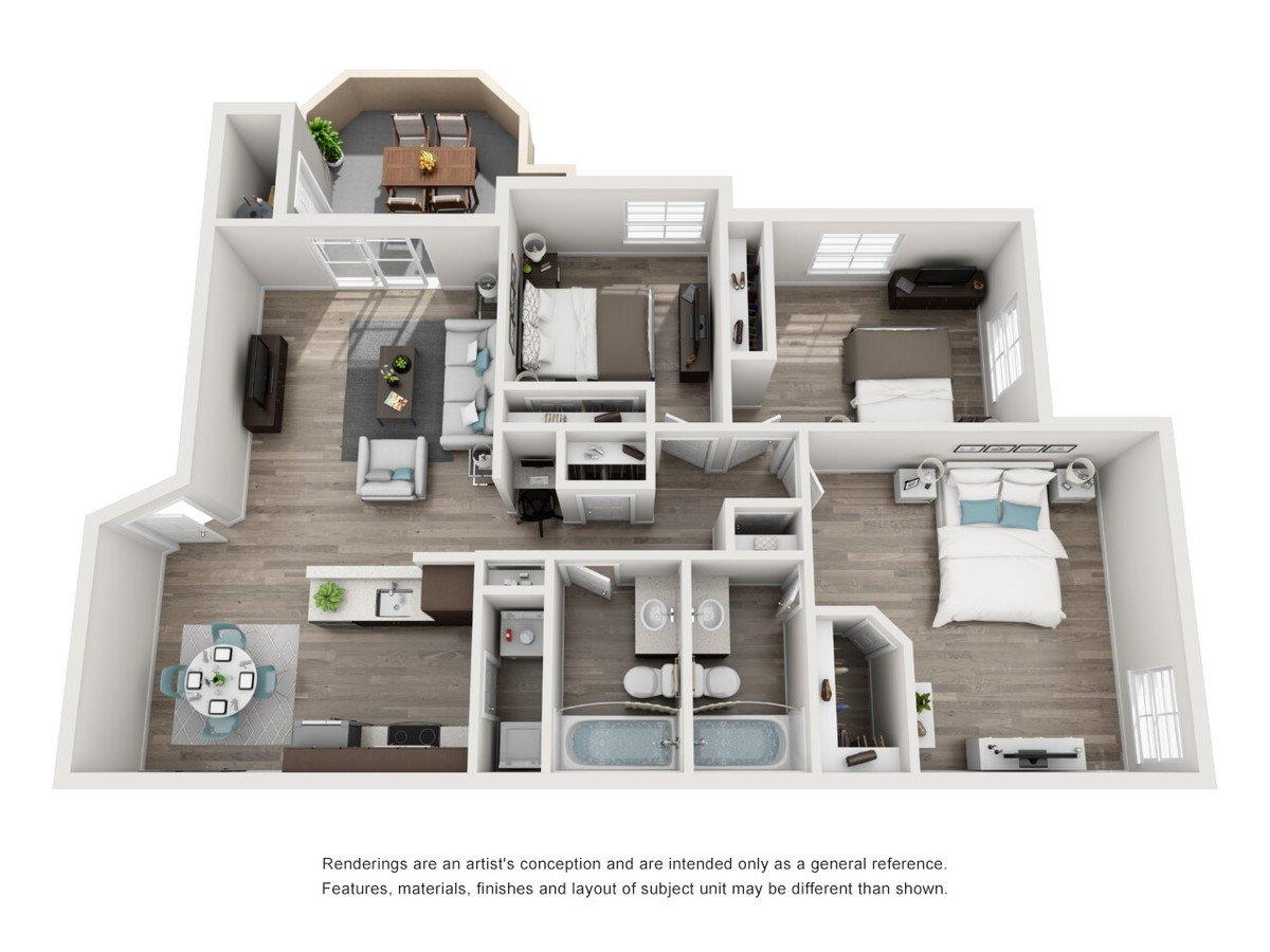 3 Bedrooms 2 Bathrooms Apartment for rent at Tuscany Ridge in Peoria, AZ