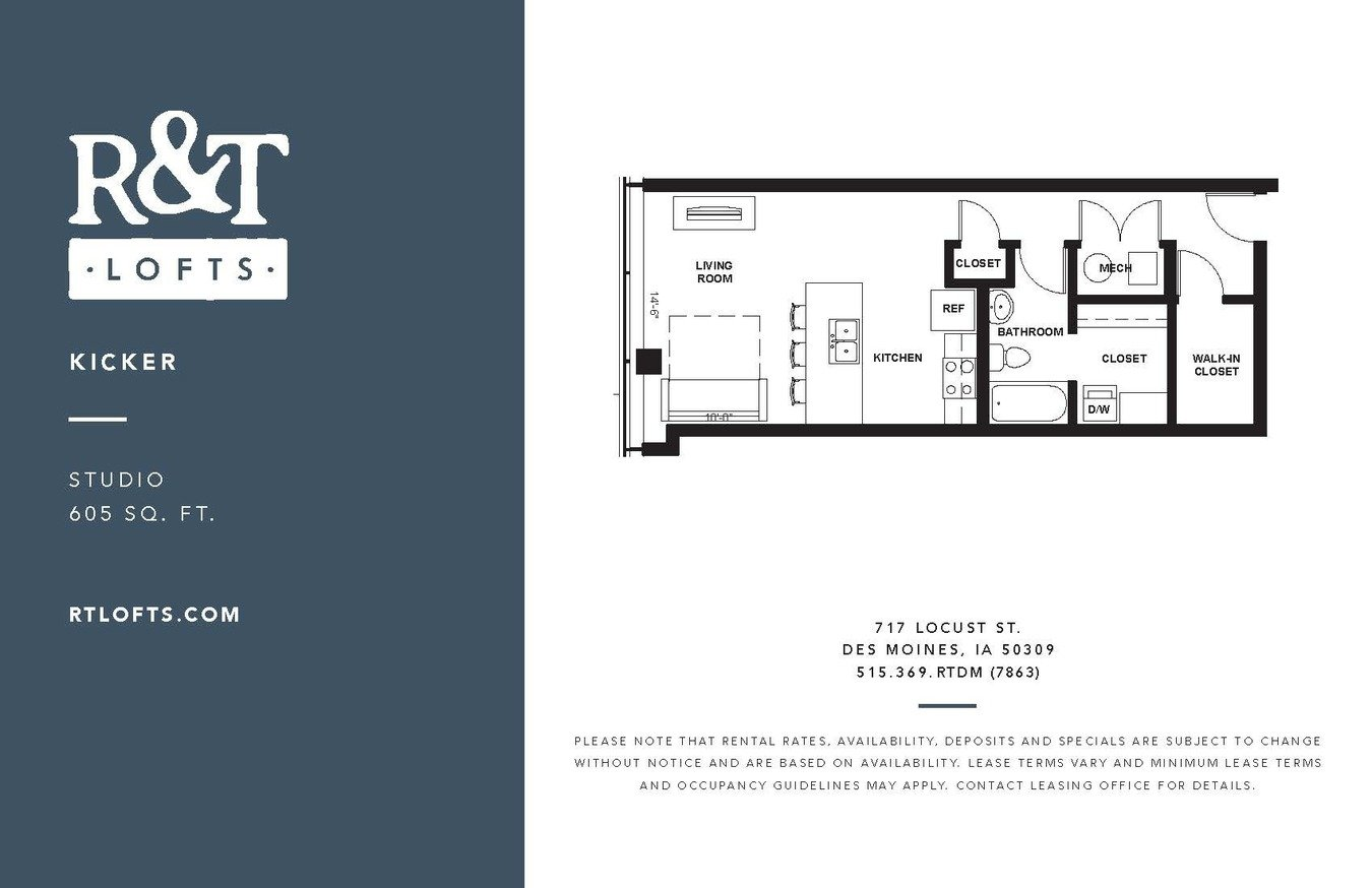 Studio 1 Bathroom Apartment for rent at R&t Lofts in Des Moines, IA