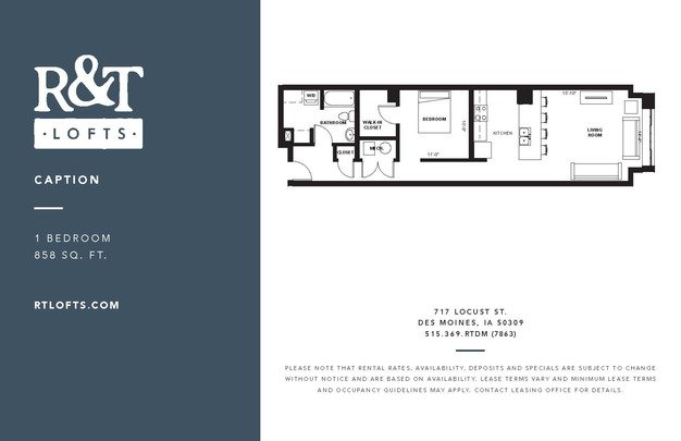 1 Bedroom 1 Bathroom Apartment for rent at R&t Lofts in Des Moines, IA