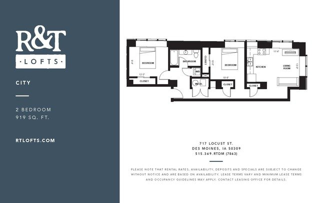2 Bedrooms 1 Bathroom Apartment for rent at R&t Lofts in Des Moines, IA