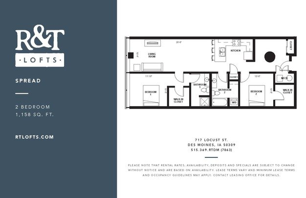 2 Bedrooms 2 Bathrooms Apartment for rent at R&t Lofts in Des Moines, IA