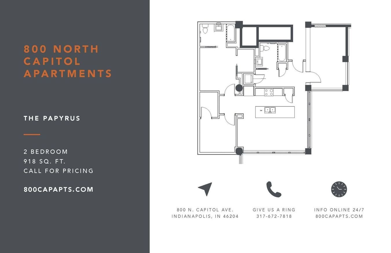 2 Bedrooms 2 Bathrooms Apartment for rent at 800 Capitol in Indianapolis, IN