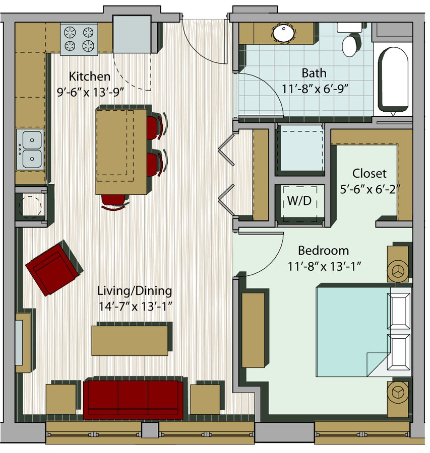 1 Bedroom 1 Bathroom Apartment for rent at Building 6 Apartments in Milwaukee, WI
