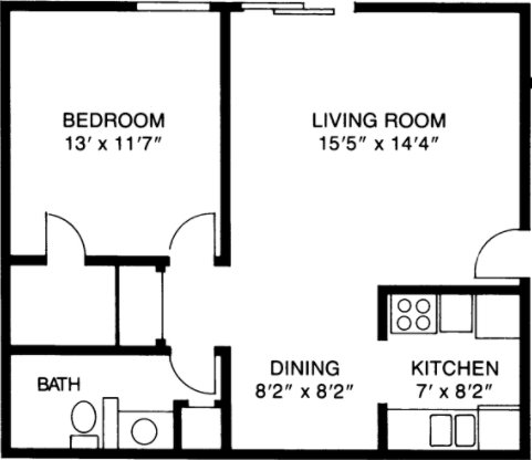 1 Bedroom 1 Bathroom Apartment for rent at Village Green East in Madison, WI