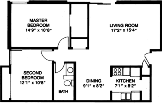 2 Bedrooms 1 Bathroom Apartment for rent at Village Green East in Madison, WI