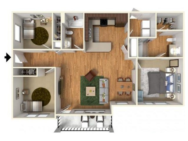 3 Bedrooms 2 Bathrooms Apartment for rent at Highline At Kendall Yards in Spokane, WA