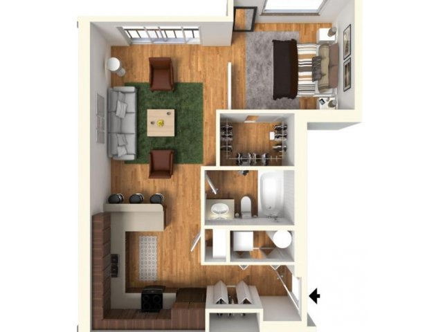 Studio 1 Bathroom Apartment for rent at Highline At Kendall Yards in Spokane, WA