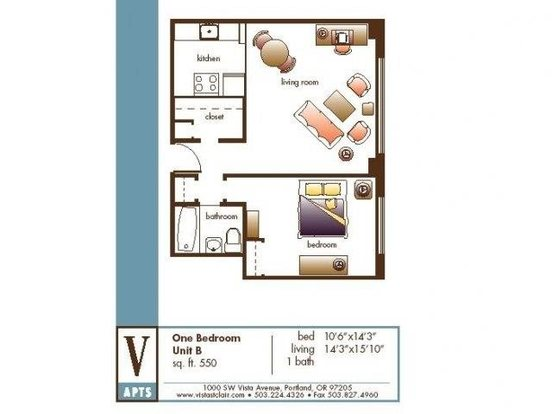 Studio 1 Bathroom Apartment for rent at Vista St. Clair in Portland, OR