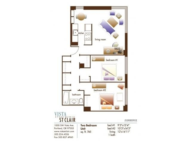 2 Bedrooms 1 Bathroom Apartment for rent at Vista St. Clair in Portland, OR