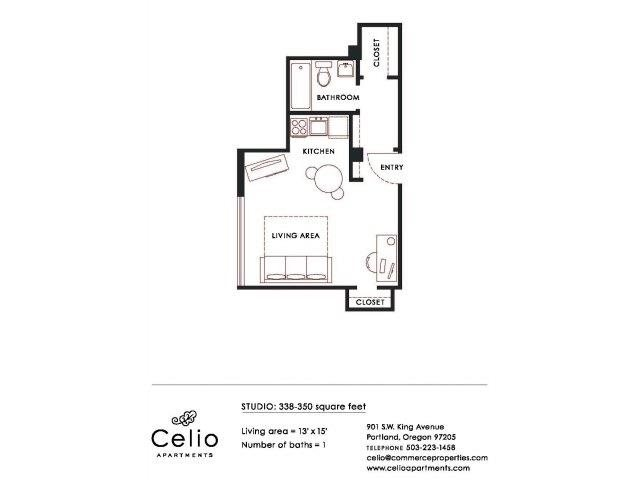 Studio 1 Bathroom Apartment for rent at Celio Apartments in Portland, OR