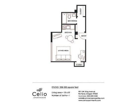 Studio 1 Bathroom Apartment for rent at Celio Apartments in Portland, OR