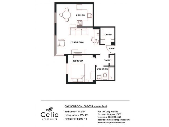 1 Bedroom 1 Bathroom Apartment for rent at Celio Apartments in Portland, OR