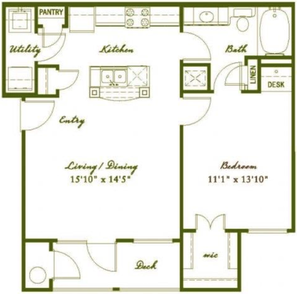 1 Bedroom 1 Bathroom Apartment for rent at Austin City Lights in Austin, TX
