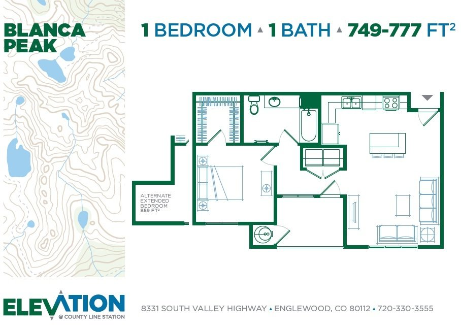 1 Bedroom 1 Bathroom Apartment for rent at Elevation At County Line Station in Englewood, CO