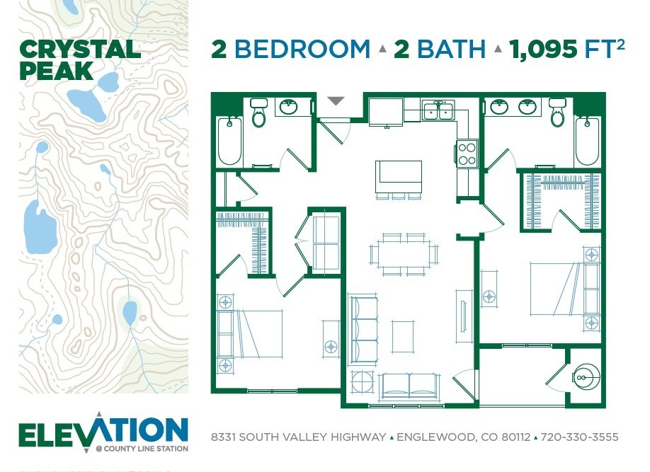 2 Bedrooms 2 Bathrooms Apartment for rent at Elevation At County Line Station in Englewood, CO