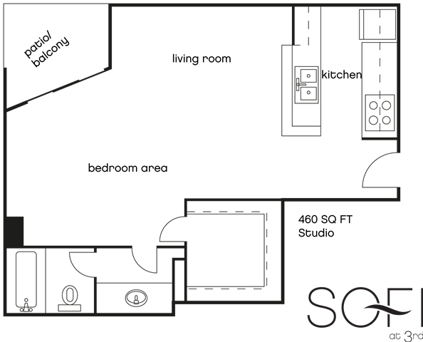 Studio 1 Bathroom Apartment for rent at Sofi At 3rd in Long Beach, CA