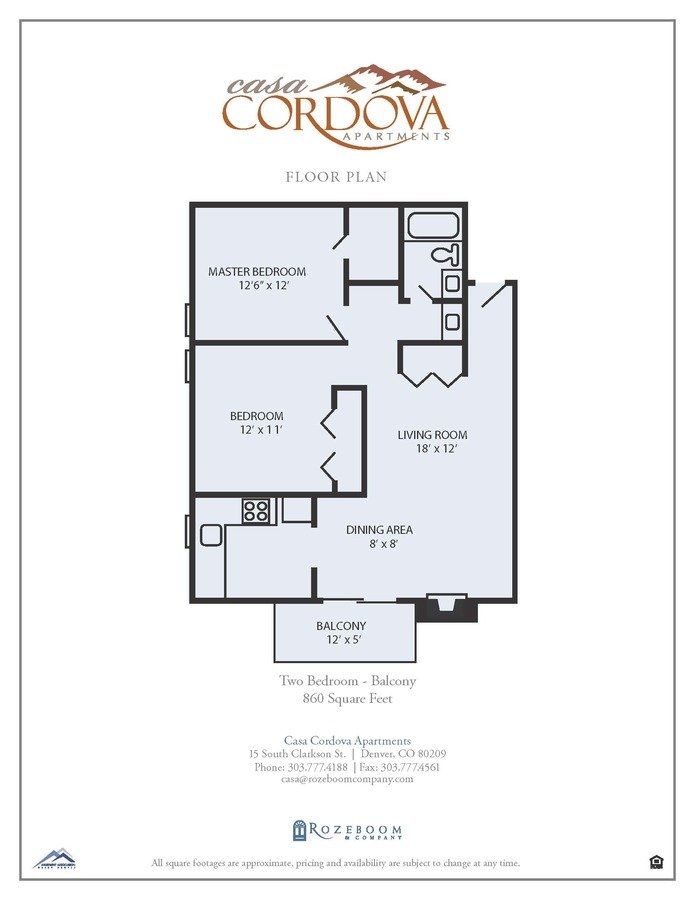 2 Bedrooms 1 Bathroom Apartment for rent at Casa Cordova Apartments in Denver, CO