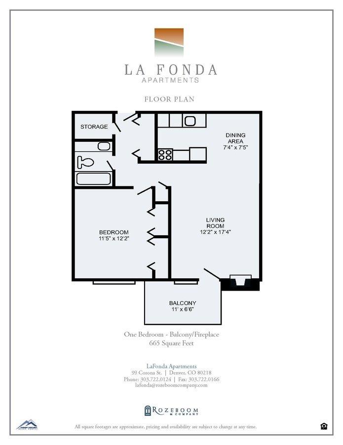 1 Bedroom 1 Bathroom Apartment for rent at La Fonda Apartments in Denver, CO