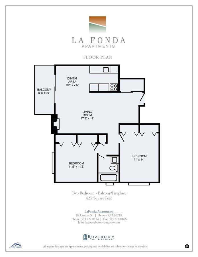 2 Bedrooms 1 Bathroom Apartment for rent at La Fonda Apartments in Denver, CO